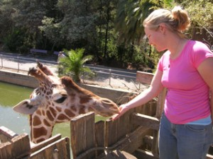 Kathleen and giraffe